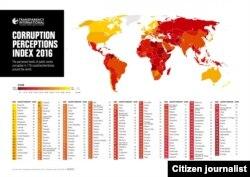 ອົງການເພື່ອຄວາມໂປ່ງໃສສາກົນ (Tranparency International) ທີ່ໄດ້ ດຳເນີນການ ສຳຫລວງຄວາມຄິດເຫັນ ຂອງຄວາມຄິດເຫັນຂອງນັກທຸຈະລິດ ກ່ຽວກັບ ສະພາບການສໍ້ລາດບັງຫລວງຢູ່ໃນ 176 ປະເທດ ທົ່ວໂລກ