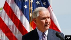 Attorney General Jeff Sessions speaks at a news conference after touring the U.S.-Mexico border with border officials in Nogales, Arizona, April 11, 2017.