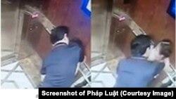 Hình ảnh ông Nguyễn Hữu Linh, cựu Viện phó VKSND Đà Nẵng, tìm cách ôm hôn một bé gái. Ông Linh vừa bị Công an Quận 4 TP HCM khởi tố.