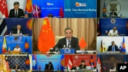 In this image taken from a video provided by VTV, Chinese Foreign Minister Wang Yi speaks during an online meeting with ASEAN foreign ministers on Wednesday, Sept. 9, 2020. Southeast Asia's top diplomats held their annual talks by video Wednesday to discuss the immense crisis wrought by the coronavirus pandemic and rising tensions in the South China Sea amid the escalating rivalry between Washington and Beijing. (VTV via AP)
