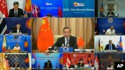 中國外交部長王毅在與東盟外長的在線會議上發言(2020年9月9日)。