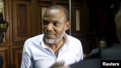 Nnamdi Kanu yayin da ya bayyana a gaban kotu a Abuja. Jan. 20, 2016