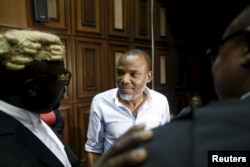 Indigenous People of Biafra leader Nnamdi Kanu at the federal high court in Abuja, Nigeria Jan. 20, 2016.