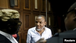 FILE - Indigenous People of Biafra leader Nnamdi Kanu at the federal high court in Abuja, Nigeria Jan. 20, 2016.