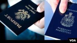 美国护照(左)和加拿大护照