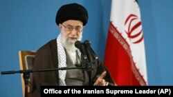 FILE - Iran's Ayatollah Ali Khamenei speaks during a meeting with students in Tehran, Iran, Nov. 3, 2015.