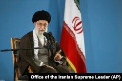 Iranian supreme leader Ayatollah Ali Khamenei speaks during a meeting with students in Tehran, Iran, Nov. 3, 2015.