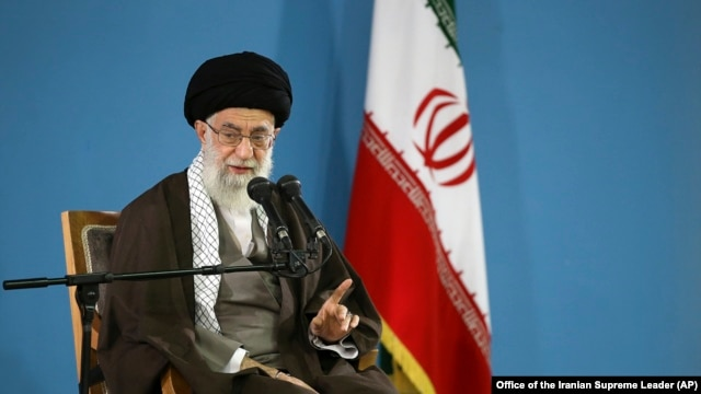 FILE - Iranian supreme leader Ayatollah Ali Khamenei speaks during a meeting with students in Tehran, Iran, Nov. 3, 2015. Khamenei said Iran's economy had not yet benefited from the Western delegations visiting Iran.