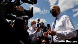 美國總統拜登在賓夕法尼亞州尚克斯維爾進行現場憑弔後對記者發表講話(2021年9月11日)