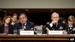 Outgoing Defense Secretary Leon Panetta, and Joint Chiefs Chairman Gen. Martin Dempsey, testify on Capitol Hill, Washington, Feb. 7, 2013.