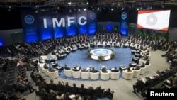 IMF總裁拉加德在利馬召開的2015年IMF/世行年會上講話。 (2015年10月9日)