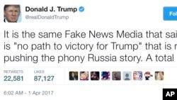 """ຢູ່ໃນຂໍ້ຄວາມທີ່ທ່ານ ທຣໍາຂຽນລົງໃນທວີດເຕີ ໃນວັນທີ 1 ເມສາ, 2017 ທ່ານໄດ້ເວົ້າວ່າພວກຂ່າວສານທັງຫລາຍພາກັນ ອອກຂ່າວ ທີ່ທ່ານເອີ້ນວ່າ """"ຂ່າວຂີ້ຕົວະ"""" ຫລື """"fake news."""""""
