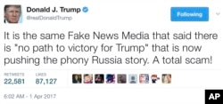 "In this April 1, 2017, tweet, President Donald Trump talks about the news media and what he calls ""fake news."""