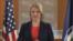 美國國務院發言人希瑟諾爾特女士星期三在外國記者中心的記者會上。