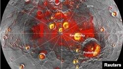 雷達顯示信使號拍得的水星北極地區圖像