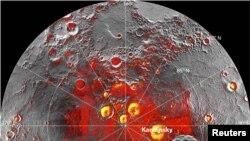 Gambar radar dari kutub utara Merkurius yang diambil oleh Observatorium Arecibo di Puerto Rico. (Reuters/NASA)