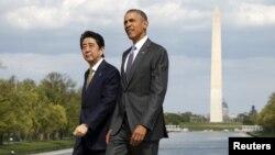 ປະທານາທິບໍດີ Barack Obama ແລະນາຍົກລັດຖະມົນຕີຍີ່ປຸ່ນ ທ່ານ Shinzo Abe.