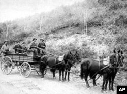 This photo of a Wells Fargo treasure wagon, used to haul gold out of the hills near Deadwood, South Dakota, was taken in 1890.