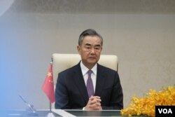 Chinese Foreign Minister Wang Yi at the Peace Palace in Phnom Penh​ during his official visit to Cambodia on October 12, 2020. (Aun Chhengpor/VOA Khmer)
