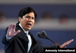 FILE - State Sen. Kevin de Leon, D- Calif., speaks during the first day of the Democratic National Convention in Philadelphia, July 25, 2016.