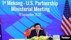 越南外交部長范平明(Pham Binh Minh)在東盟會議期間發表講話(2020年9月11日)。