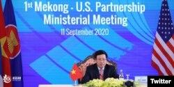 Ngoại trưởng Việt Nam Phạm Bình Minh phát biểu hôm 11-09-2020. Photo Twitter ASEAN Vietnam 2020.
