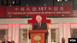 美国在台协会主席莫健在台湾双十国庆活动上讲话 (钟辰芳拍摄)