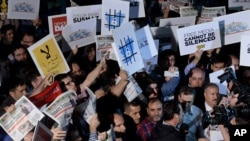 People rally in support of press freedom in Istanbul, Turkey. (File)