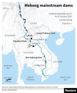 Bản đồ các đập trên sông Mekong.