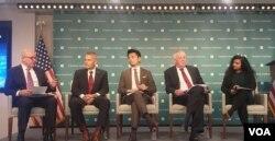 13일 워싱턴 허드슨연구소에서 '미국의 우주 전략과 인도-태평양 협력'을 주제로 토론회가 열렸다. 왼쪽부터 허버트 맥매스터 전 백악관 국가안보회의(NSC) 보좌관, 스티븐 콰스트 전 미 공군대학 총장, 무라노 마사히 허드슨연구소 연구원, 고스와미 남라타 박사.