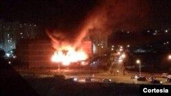 Foto circulada en Twitter del incendio en el edificio principal de la Universidad Fermin Toro de Barquisimeto.