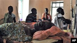 A lady recovering from Kala Azar disease in Old Fangak clinic, South Sudan, April 19, 2012
