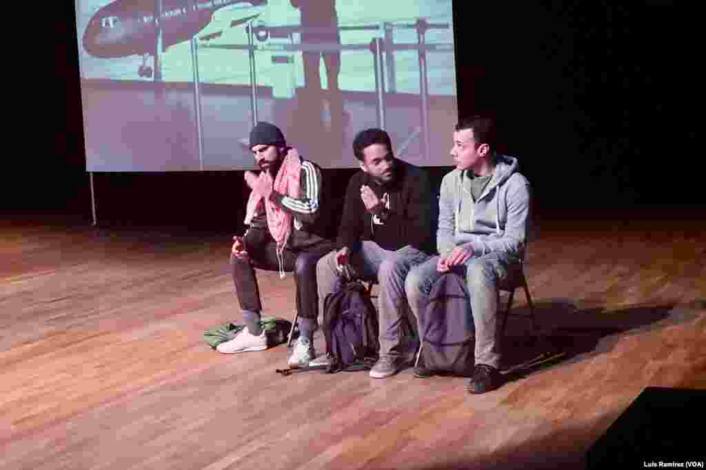 """A play called """"Jihad,"""" which tells the story of young Belgian Muslims who are radicalized in Syria, is being performed in France. Adel Djemai, right, says, """"The play does not pretend to provide any answers or solutions. But it tries to get the audience to ask the questions about what the essence of what goals these young people have set for themselves and what drives them to do it."""""""