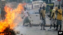Des manifestants à Bujumbura le 21 mai 2015. Photo AP