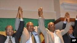 Campaigning opposition candidates (Left to Right) Negaso Gidada, Gizachew Shiferaw, Gebru Asrat and Siye Abraha