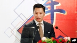 美國國務院負責亞太事務的副助理國務卿黃之瀚在台北發表講話。(2018年3月21日)