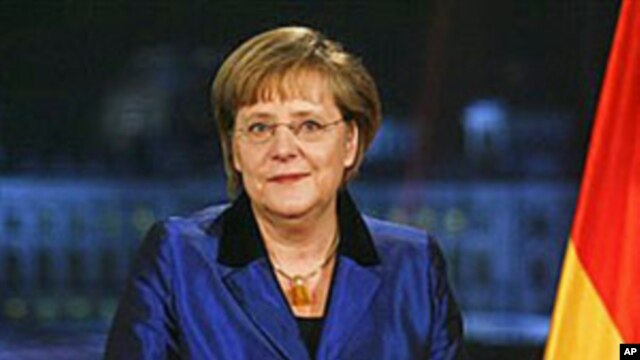 German Chancellor Angela Merkel after her annual New Year's speech at the chancellery in Berlin, Dec. 30, 2011