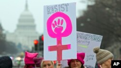 Women rally at Freedom Plaza during the Women's March in Washington, Jan. 19, 2019.