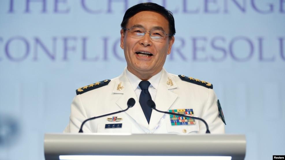 Ông Tôn Kiến Quốc, Phó Tổng tham mưu trưởng quân đội Trung Quốc tại diễn đàn đối thoại Shangri-La ở Singapore, ngày 5/6/2016.