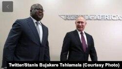 Le président Félix Tshisekedi rencontre son homologue russe Vladimir Poutine à Sotchi, le 23 octobre 2019. (Twitter/Stanis Bujakere Tshiamala)