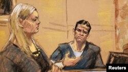 """La fiscal adjunta Amanda Liskamm interroga a Vicente Zambada Niebla (derecha), en el estrado de testigos en el juicio del acusado narcotraficante mexicano Joaquín """"El Chapo"""" Guzmán, en un dibujo de la corte federal de Brooklyn, en Nueva York, el 3 de enero de 2019."""