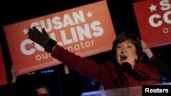 美国缅因州联邦参议员柯林斯Susan Collins成功击退民主党人的挑战(路透社2020年11月4日)