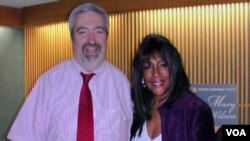 Glen Sauter posing at VOA with Mary Wilson of the Supremes.