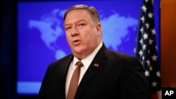 FILE - Secretary of State Mike Pompeo speaks at a news conference, April 8, 2019, at the U.S. State Department in Washington.