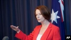 ທ່ານນາງ Julia Gillard ນາຍົກລັດຖະມົນຕີອອສເຕຣເລຍ. ວັນທີ 27 ມິຖຸນາ 2012.
