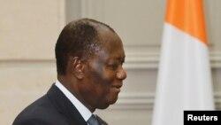Le président ivoirien Alassane Ouattara à l'Élysée, France, le 11 juin 2017.