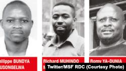 Phillipe Bundya, Richard Muhindo Matabisihi mpe Romy Ya-Dunia Ntibanyendera, basali basatu ya MSF bakangema banda le 11 juillet 2013 na basimba minduki. (Twitter/MSF RDC)