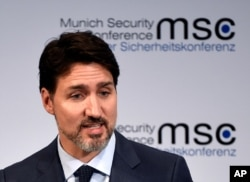 FILE - Justin Trudeau, Prime Minister of Canada, speaks at the Munich Security Conference in Munich, Germany, Feb. 14, 2020.