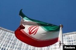 오스트리아 비엔나 유엔 본부 앞에 걸려 있는 이란 국기 (자료사진)