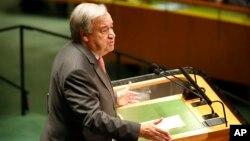 Generalni skretar Ujeidnjenih nacija Antonio Guterres obraća se prisutnima tokom 74. sjednice Generalne skupštine Ujedinjenih nacija u sjedištu UN, 24. septembra 2019.